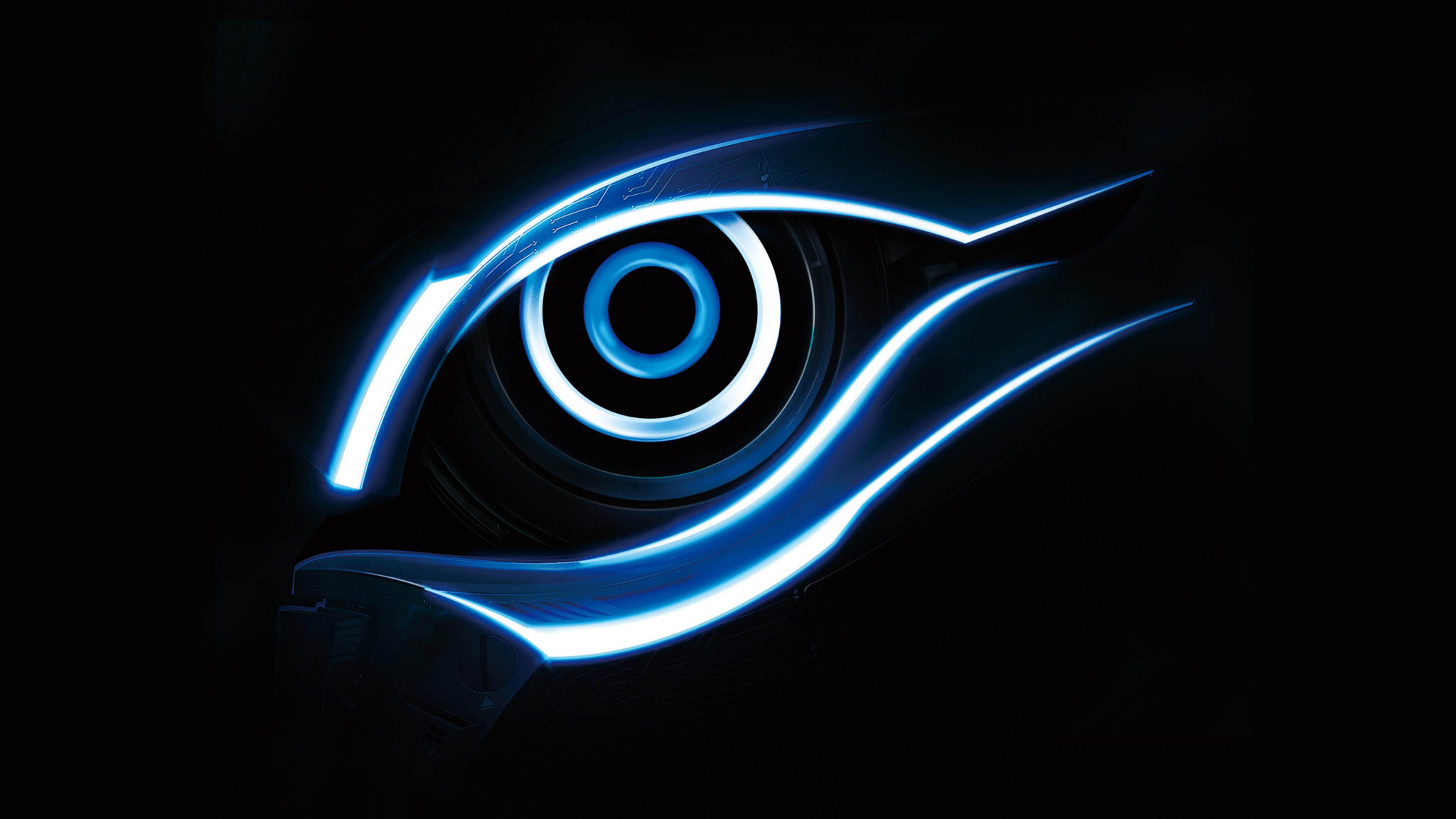 blue gigabyte eye logo 4k tech altar